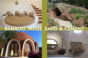 Bamboo, steel mesh, sand and cement domes