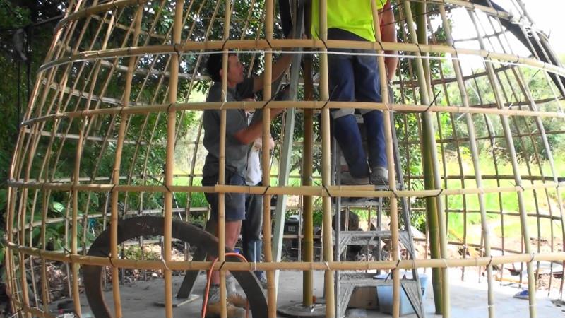 Bamboo Dome Frame in progress